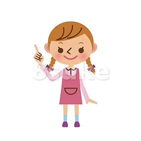 イラスト素材:指差しをする女の子(ベクター・JPG)