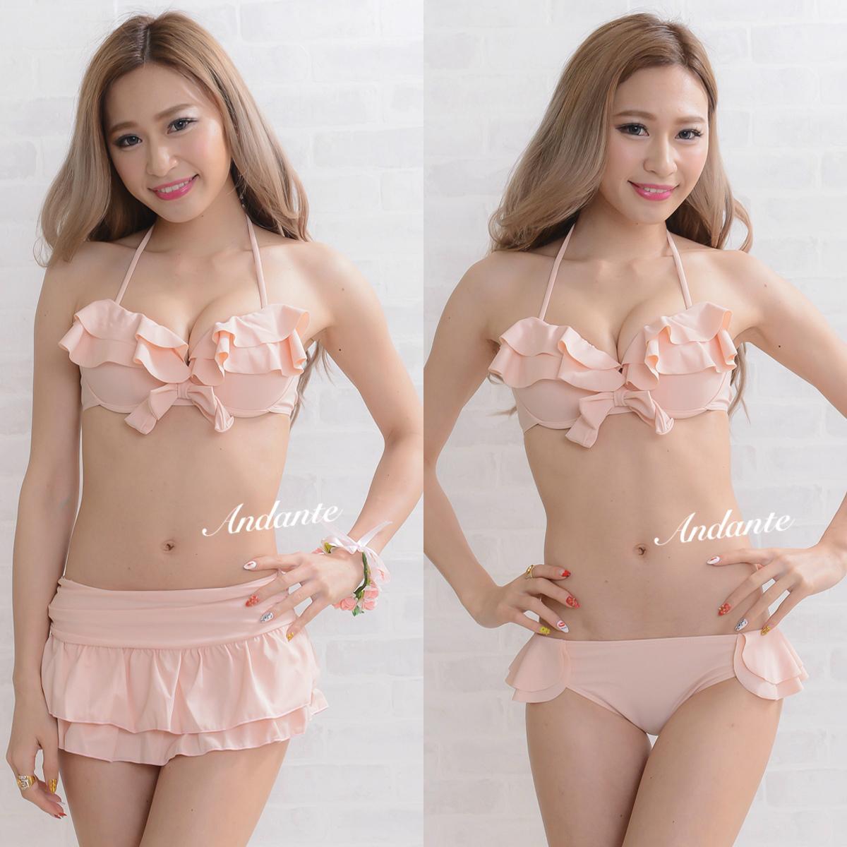 リボン×フリル水着 スカート付き3点セット ベビーピンク(薄いピンク)