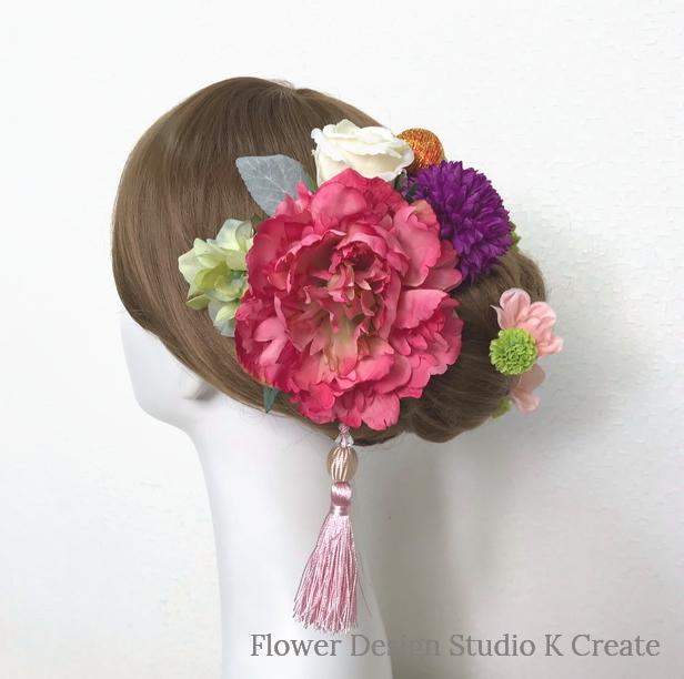 成人式・結婚式・卒業袴に♡ローズピンクのピオニーのヘッドドレス(19点セット)和装 着物髪飾り 和装婚 成人式前撮り