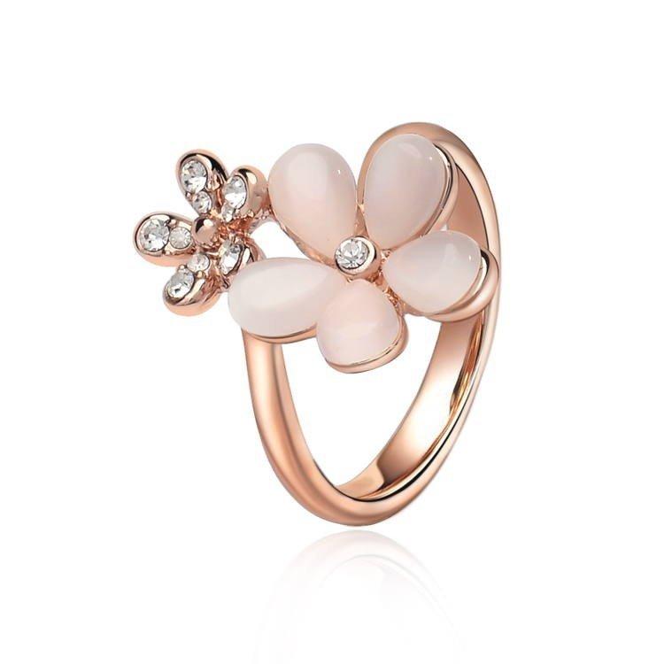 IUHA 18Kピンクゴールドメッキ 可憐なキャッツアイフラワーモチーフデザインリング 指輪 金属アレルギーと変色防止 アクセサリー ギフト  44iuhav