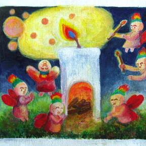 絵画 絵 ピクチャー 縁起画 モダン シェアハウス アートパネル アート art 14cm×14cm 一人暮らし 送料無料 インテリア 雑貨 壁掛け 置物 おしゃれ イラスト 現代アート  ロココロ 画家 : なったこ 作品 : 火のこどもたち