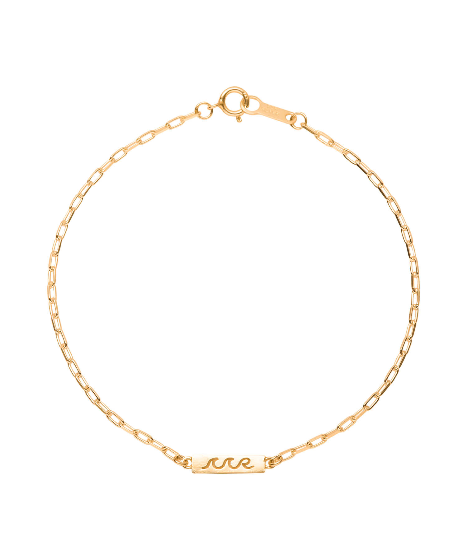 WAVE ICON PLATE CHAIN BRACELET-GOLD[REA128]