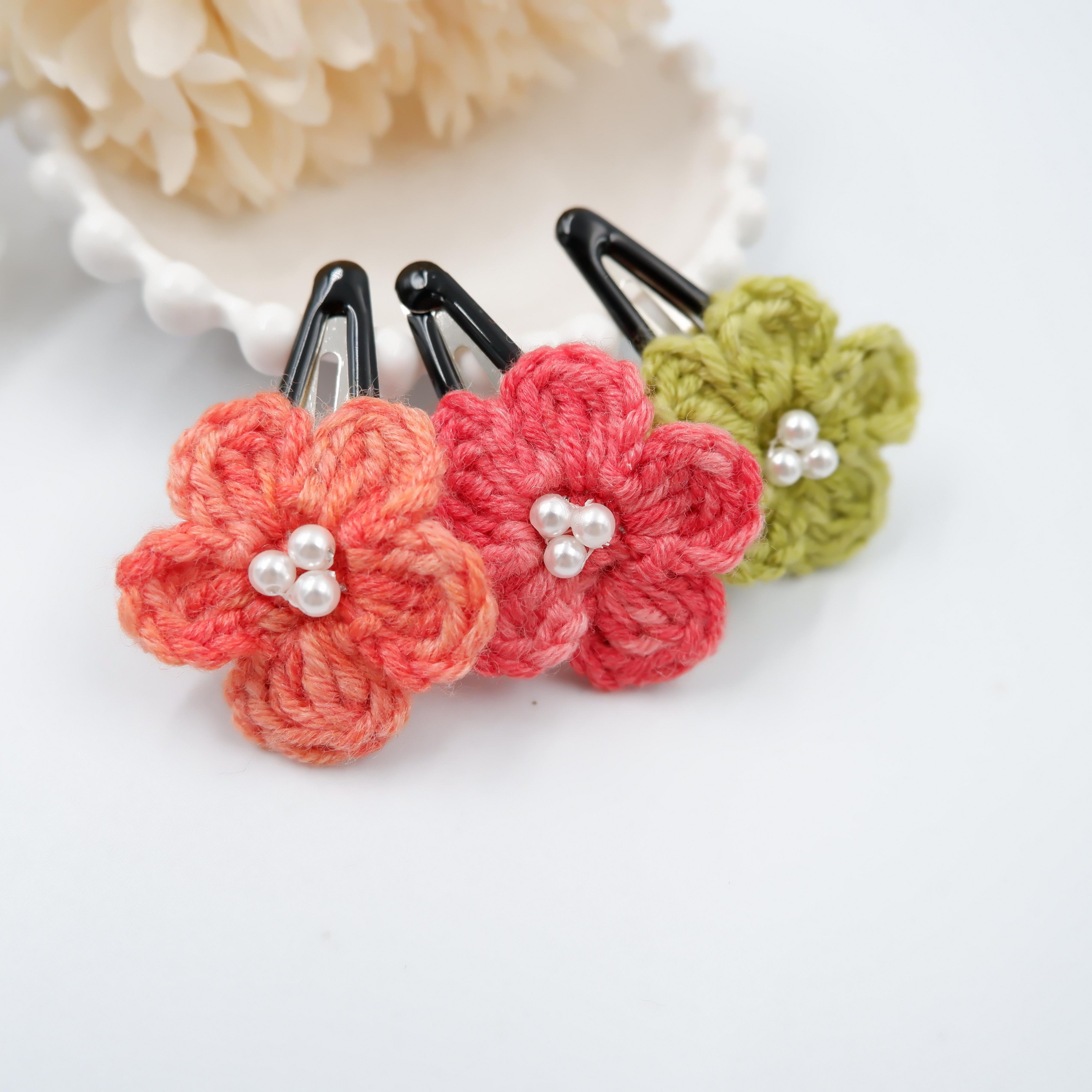 段染め小花のスリーピン3セット*暖色系
