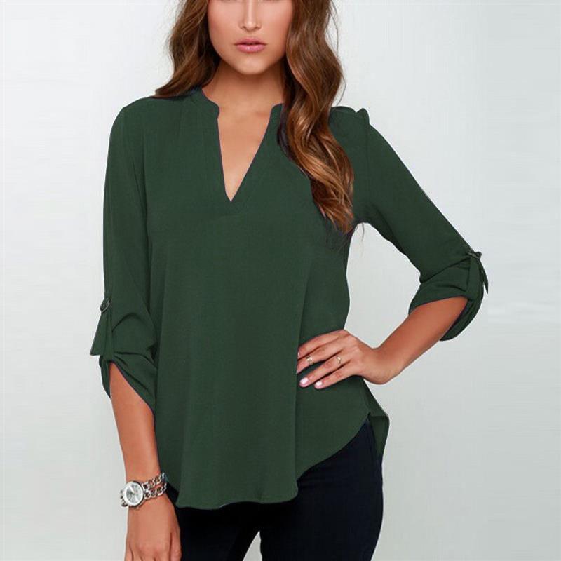 【トップス】ファッション無地Vネックシャツ・ブラウス23874002