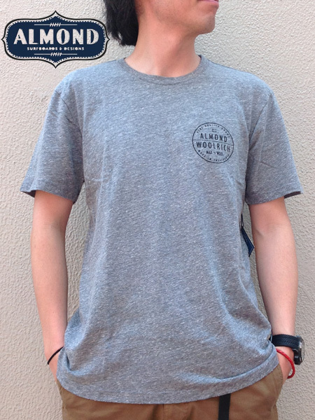 ALMOND SURFBOARDS&DESIGN × WOOLRICH(アーモンドサーフボードデザイン × ウールリッチ) WAX&WOOL T-SHIRTS Grey(グレー)