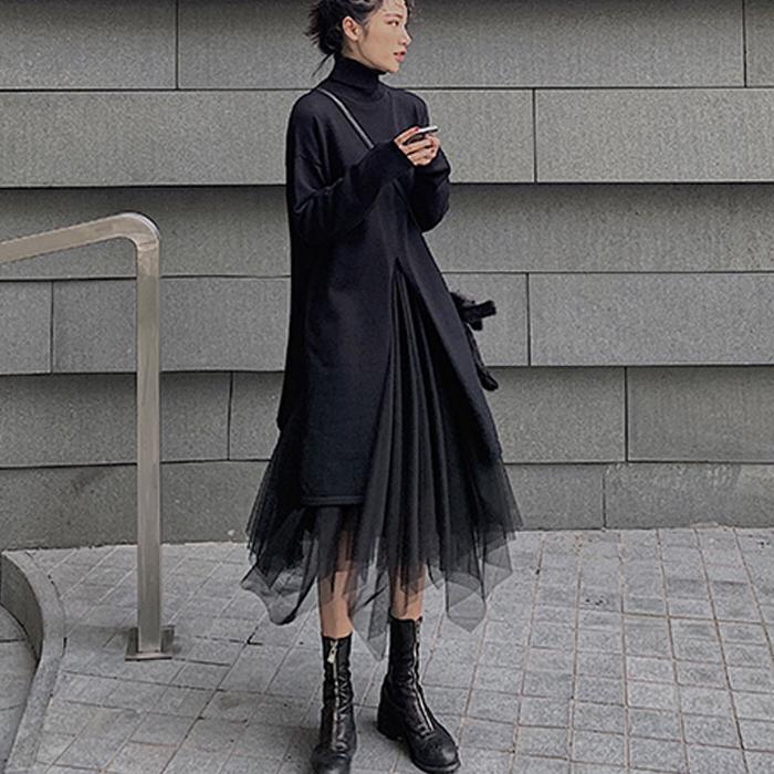 ブラック 黒 セットアップ ハイネック&イレギュラーヘムスカート