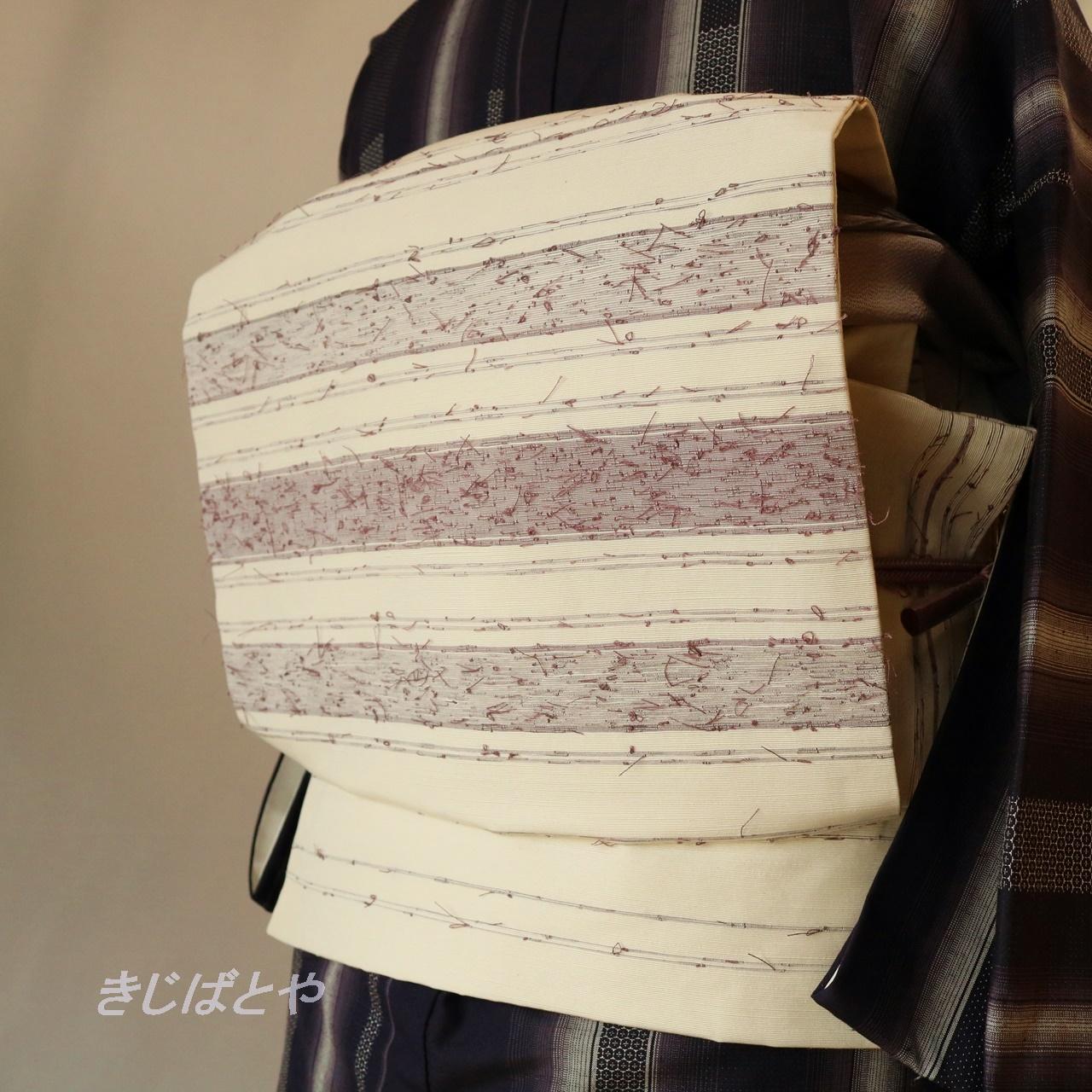 【S様ご予約品】正絹ひげ紬 白地に葡萄鼠の縞のなごや