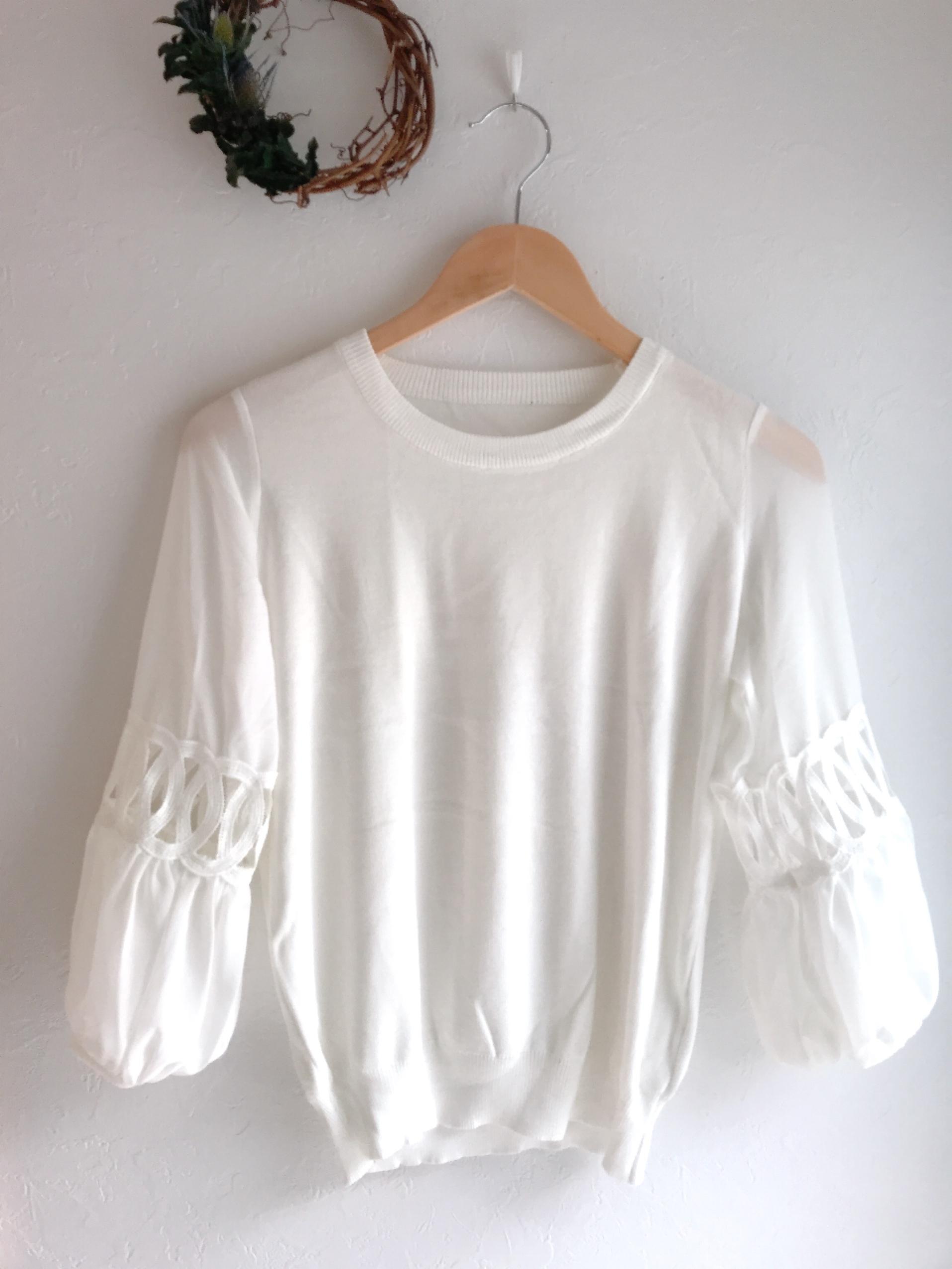 シースルー七分袖の上品ニット ホワイト