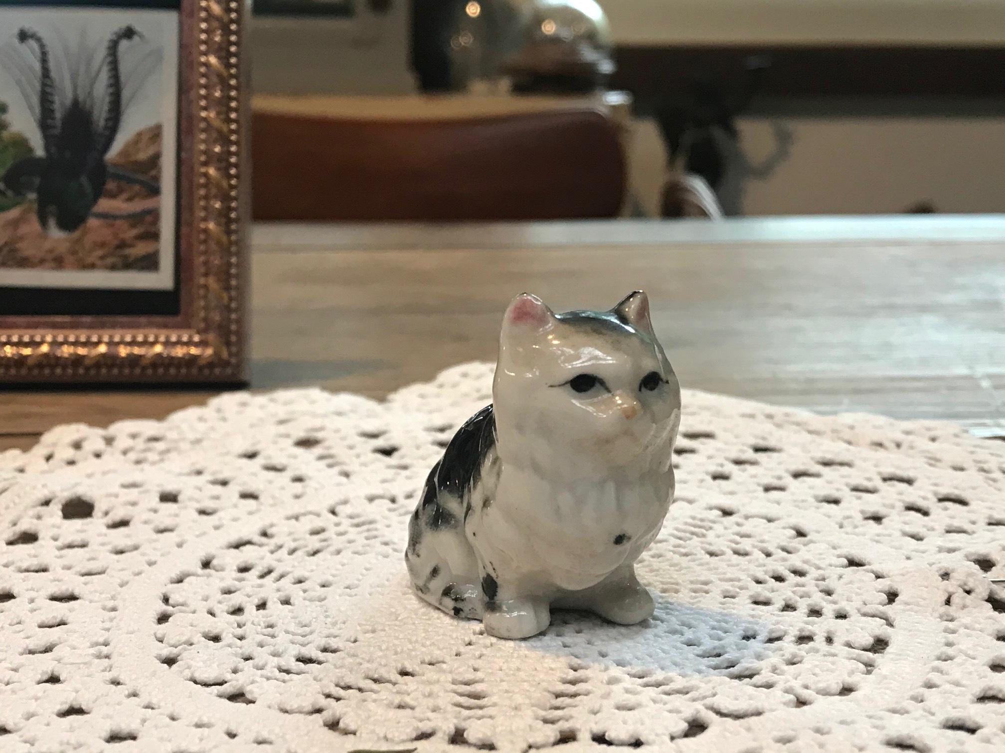 JAPAN 1960年代 陶器 人形 猫