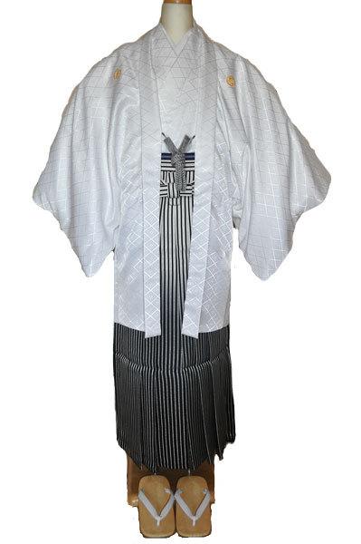 レンタル男性用white01【紋付袴】白地綸子着物に黒銀ぼかし縞はかま - 画像2