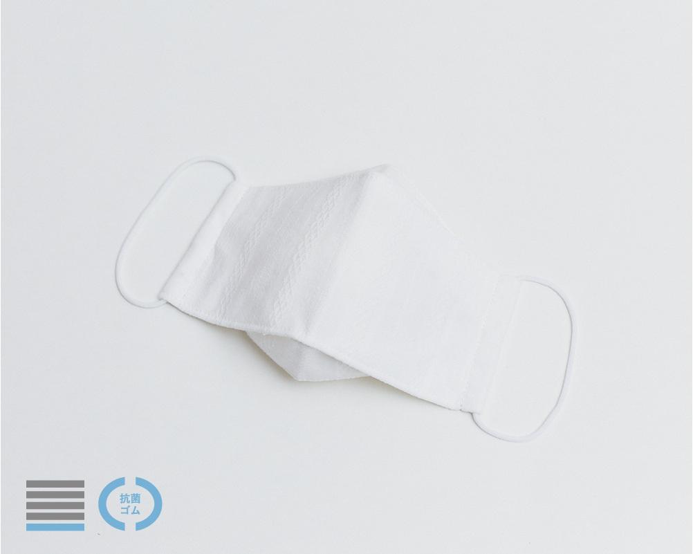 オリガミマスク|コットンレース調ストライプ柄 オフホワイト【L】
