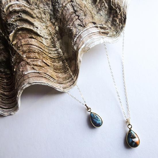 Copper Turquoise Drop Necklace