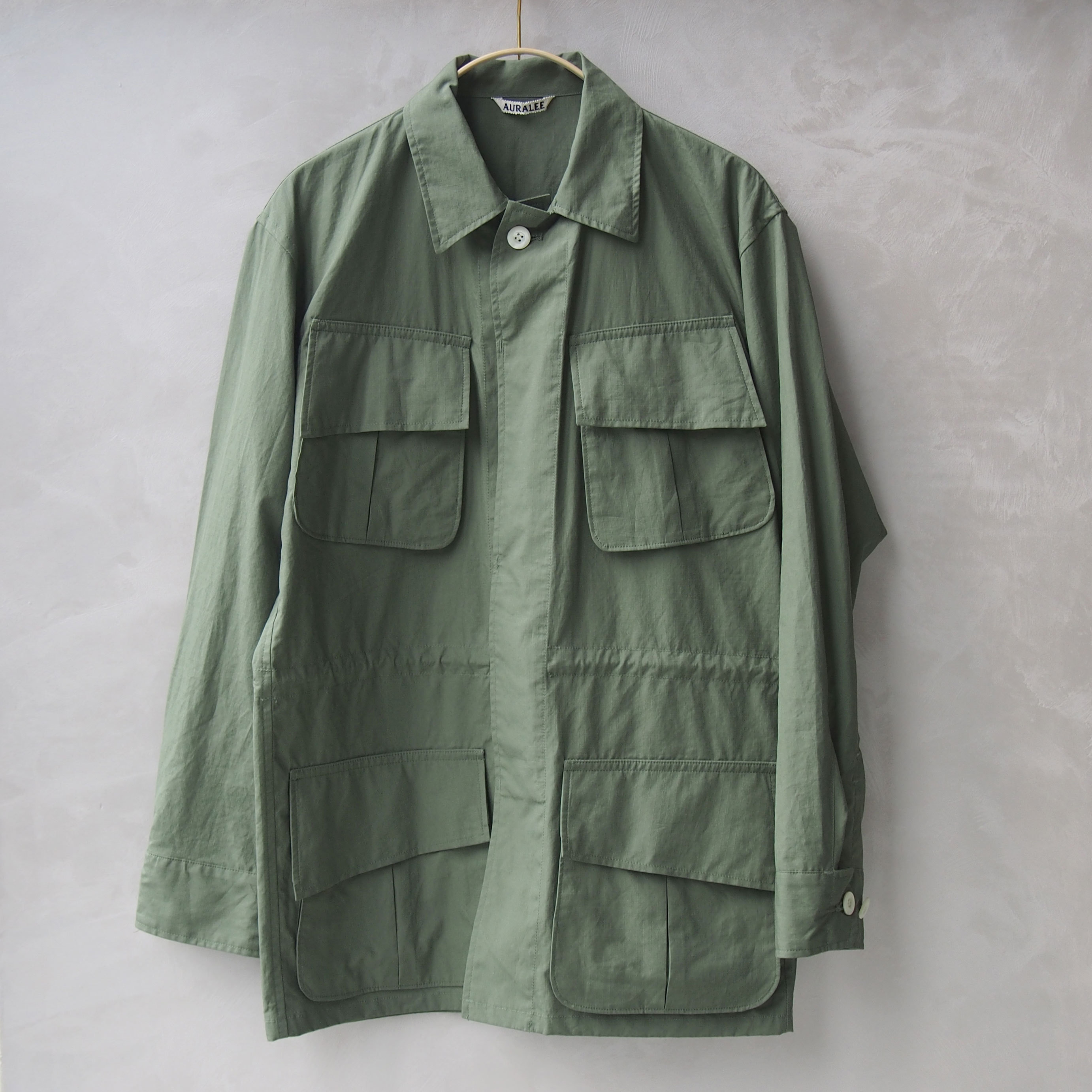 AURALEE WASHED FINX RIPSTOP FATIGUE JACKET OLIVE GREEN