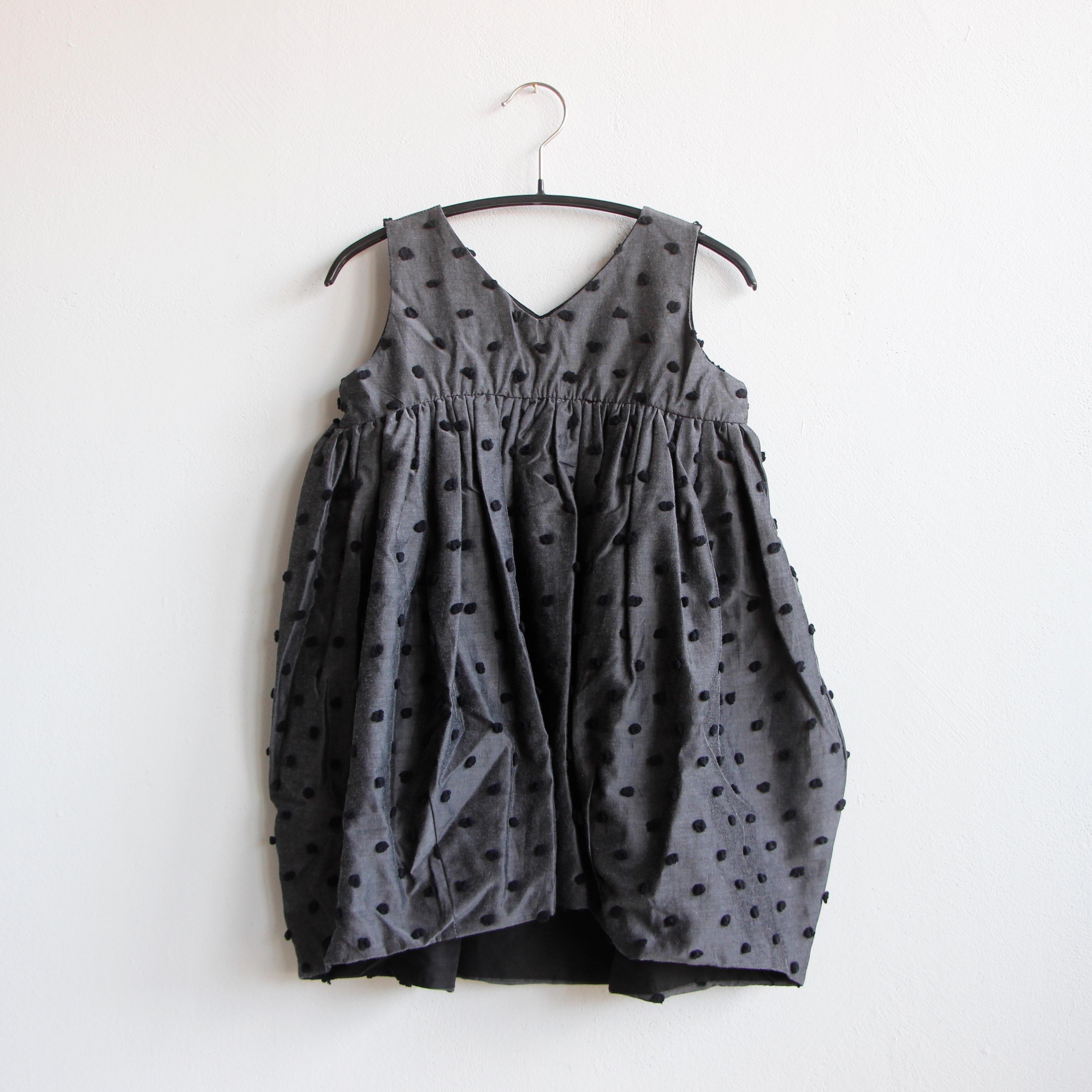 《frankygrow 2020SS》BONBON CUT JQ V-NECK DRESS / gray × black bonbon / S・M・L