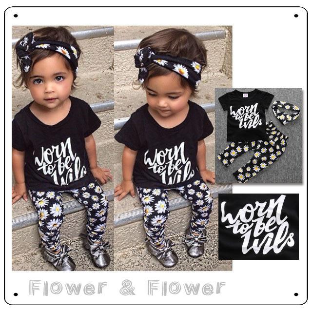 【即日発送セール】お花のヘアバンド&レギンス&半袖ブラックTシャツのセット 90サイズ