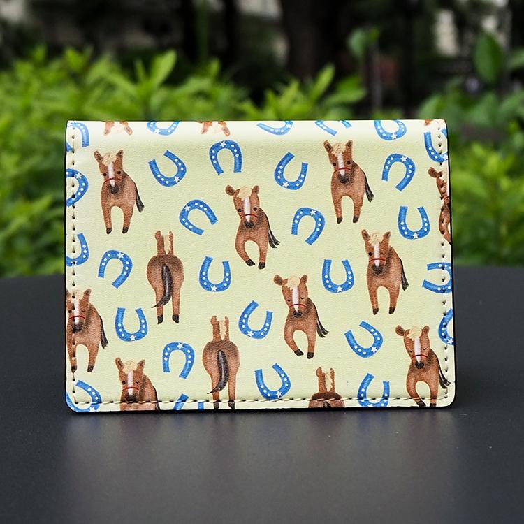 【名入れ可能】馬と馬蹄柄 大容量カードケース(名刺入れ ミニ財布)