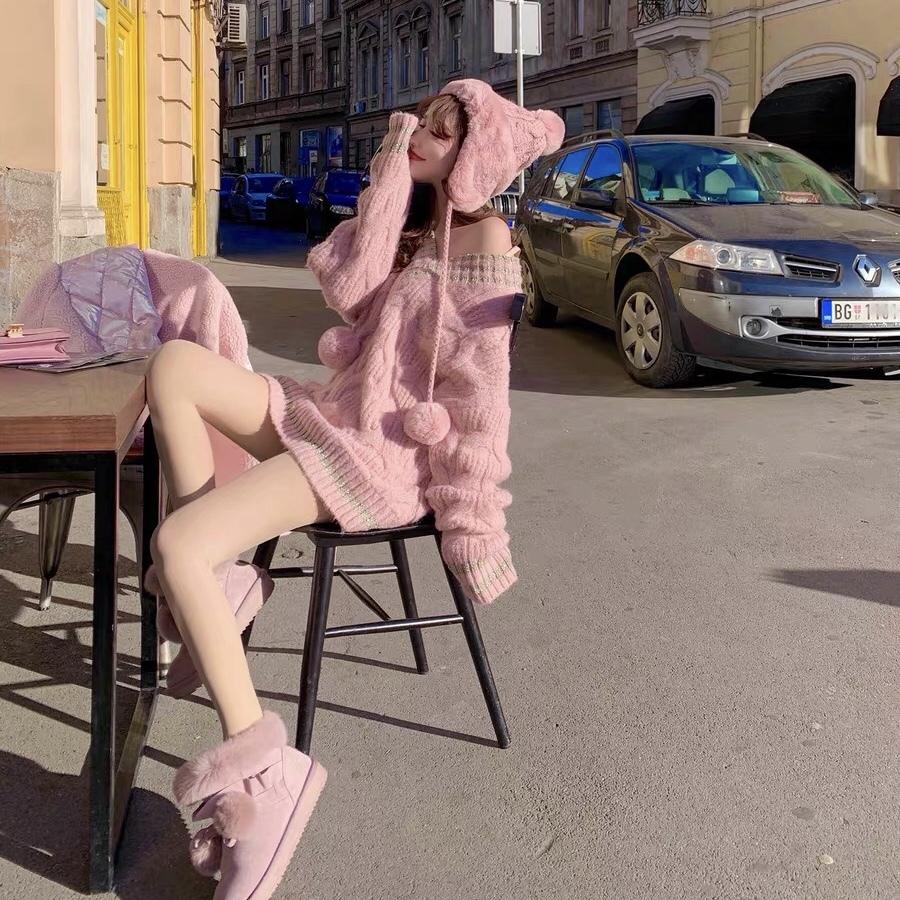 pink v neck knit