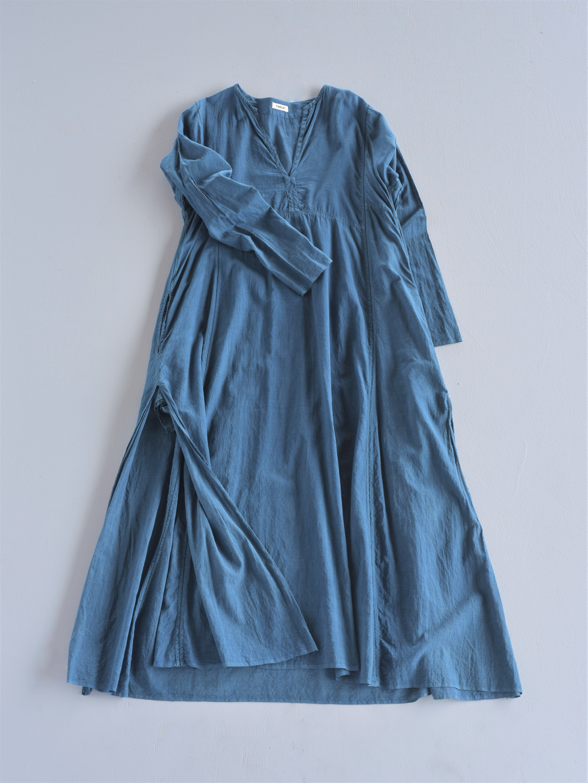 YAECA khadi ラダーステッチドレス indigo