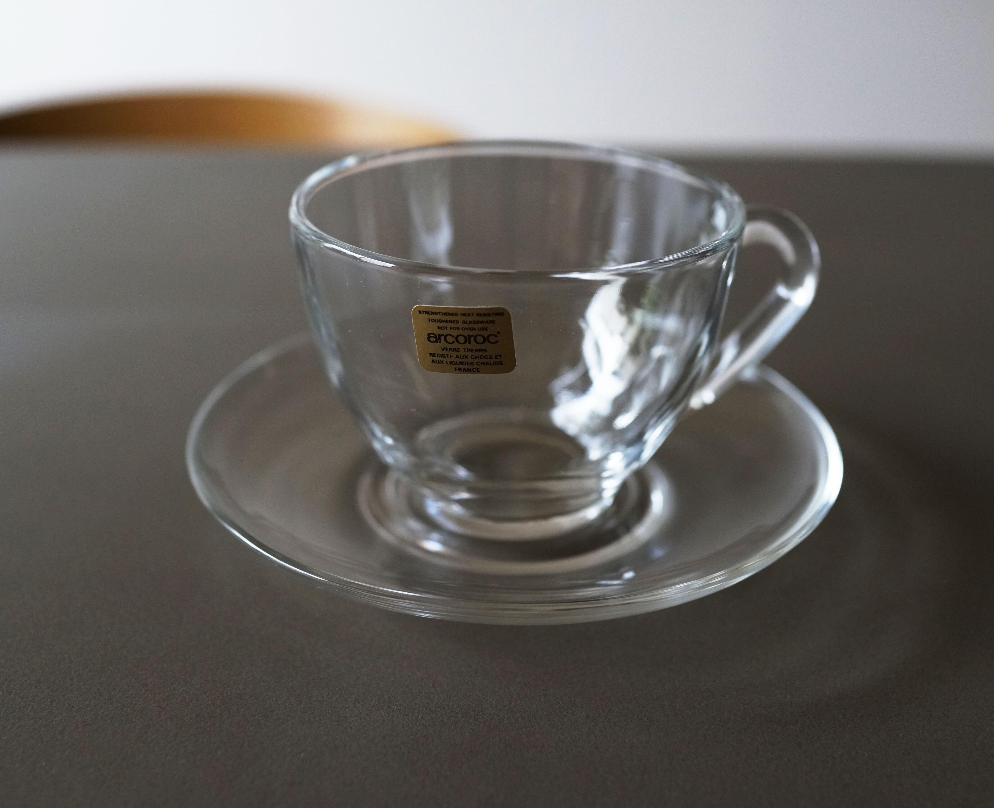 arcoroc フランス製 ガラスのカップ&ソーサー