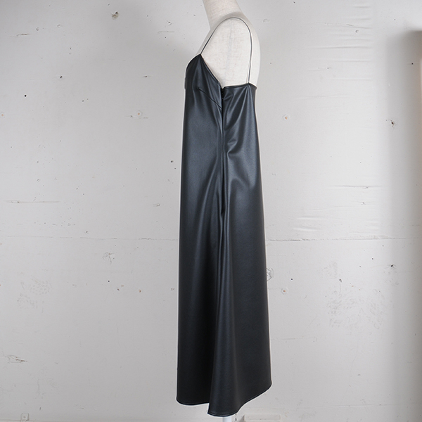df17SS-17 FAKE LEATHER DRESS ONEPIECE (black)