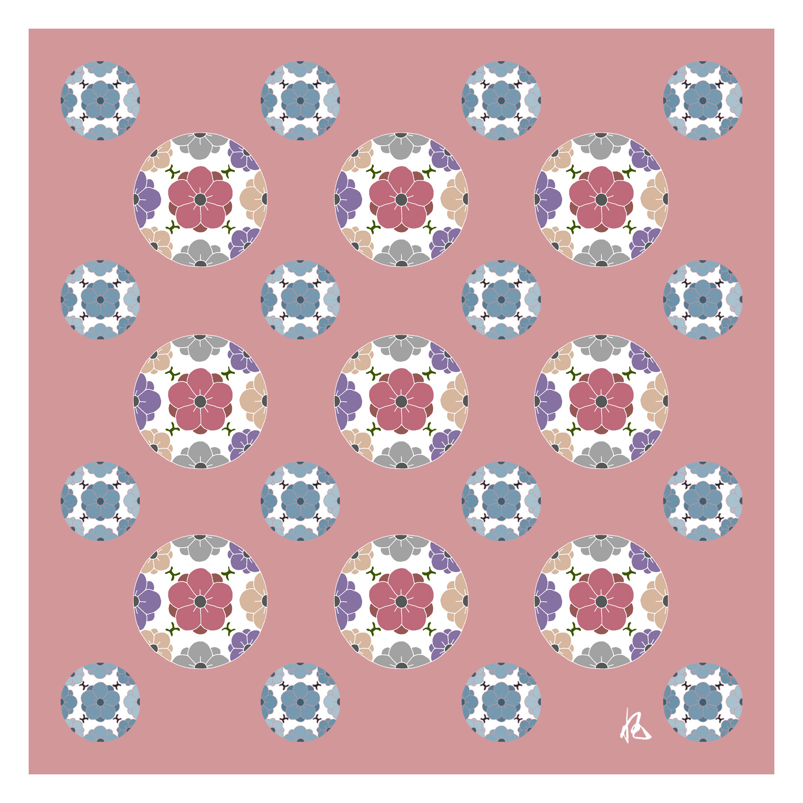 ガラス皿「そめゆら」K-18 梅紋 ピンク
