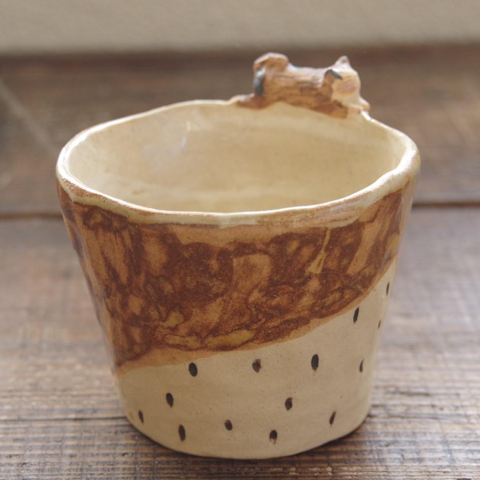 やちむん【小澤早苗】猫付き手びねりカップ