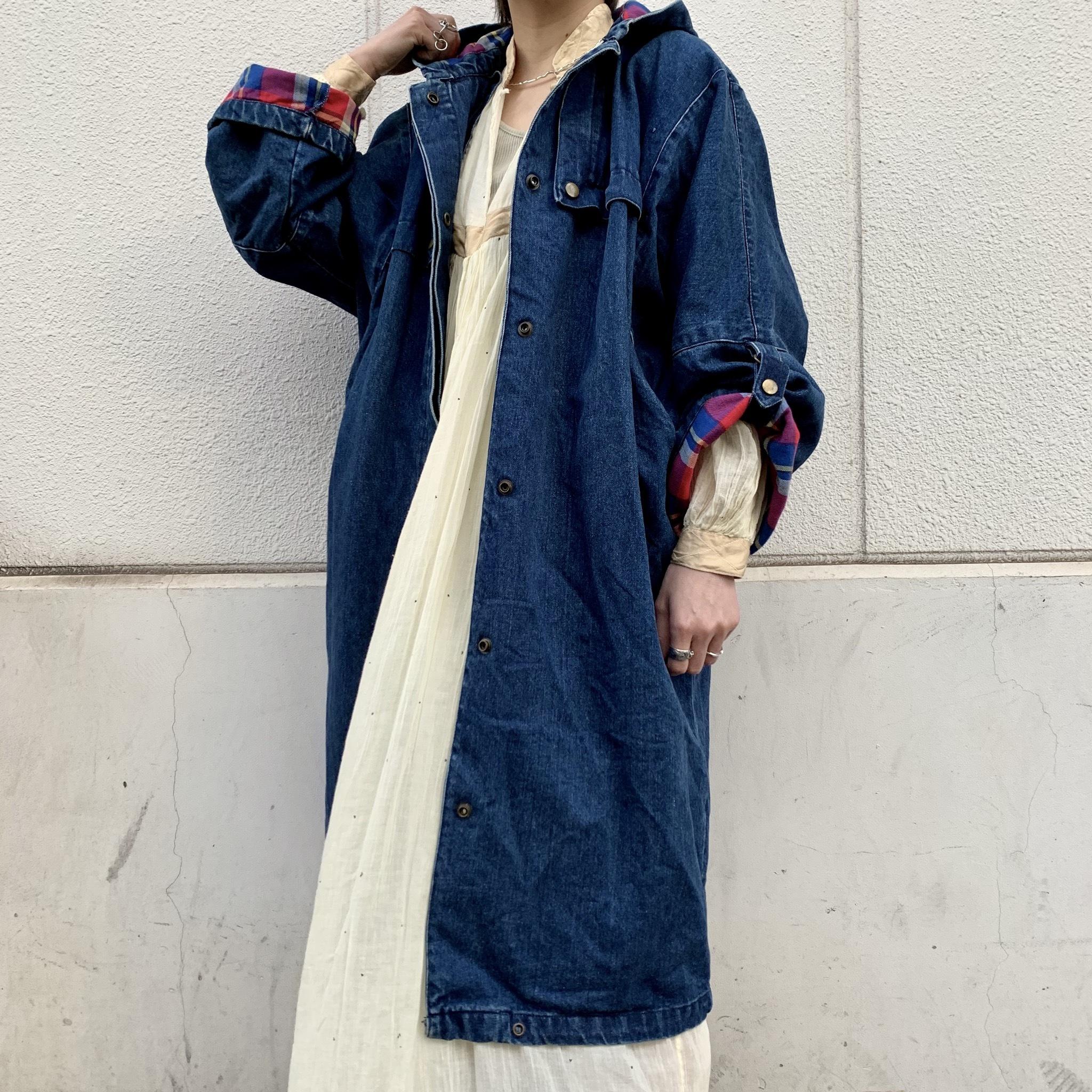 vintage denim hoodie coat