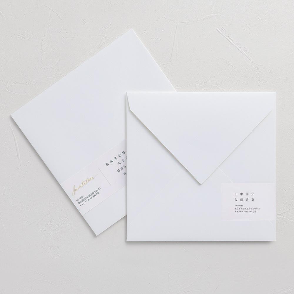 宛名シール付きコットン封筒 ホワイト(正方形・ダイヤ型)/10枚
