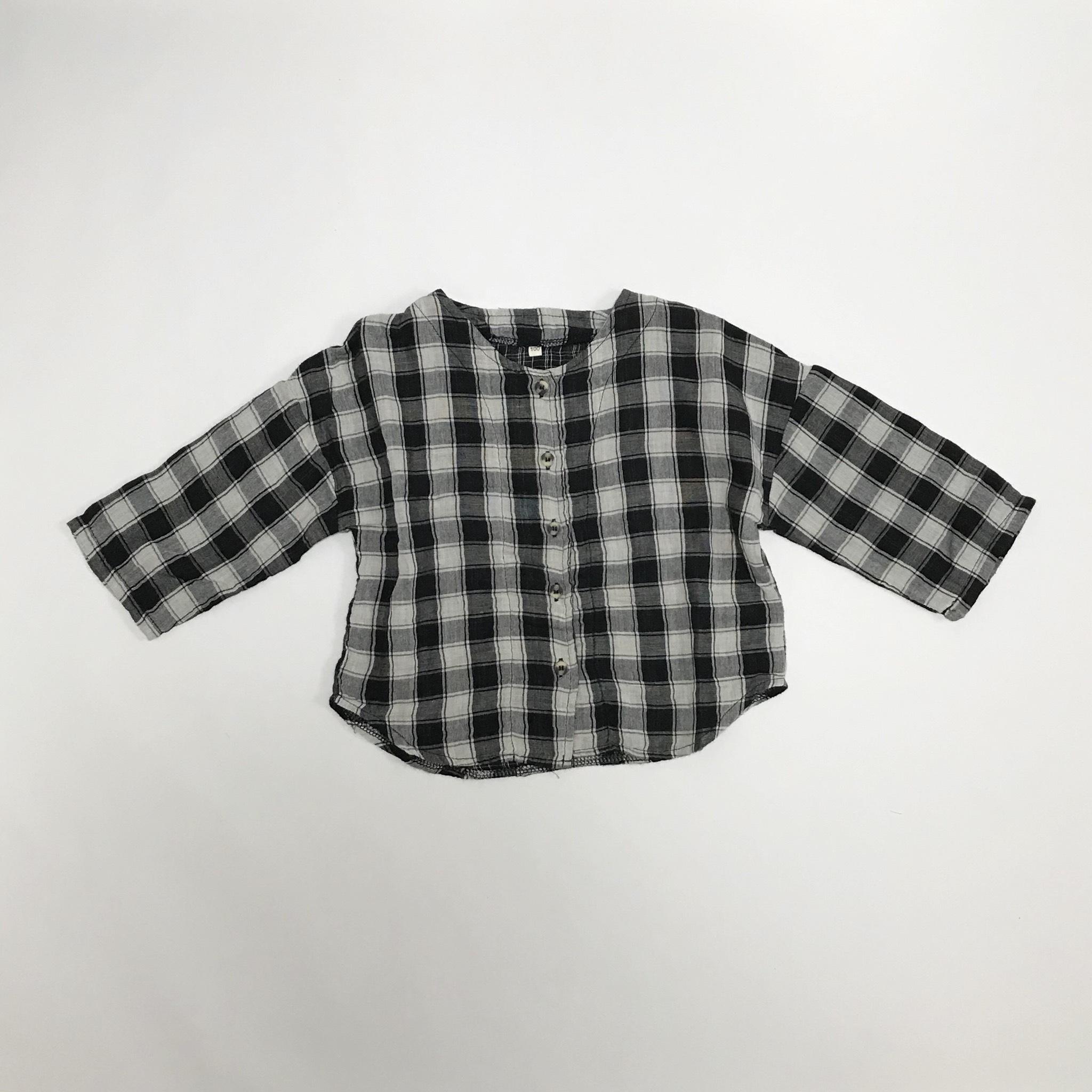 ノーカラーチェック柄シャツ【O040】