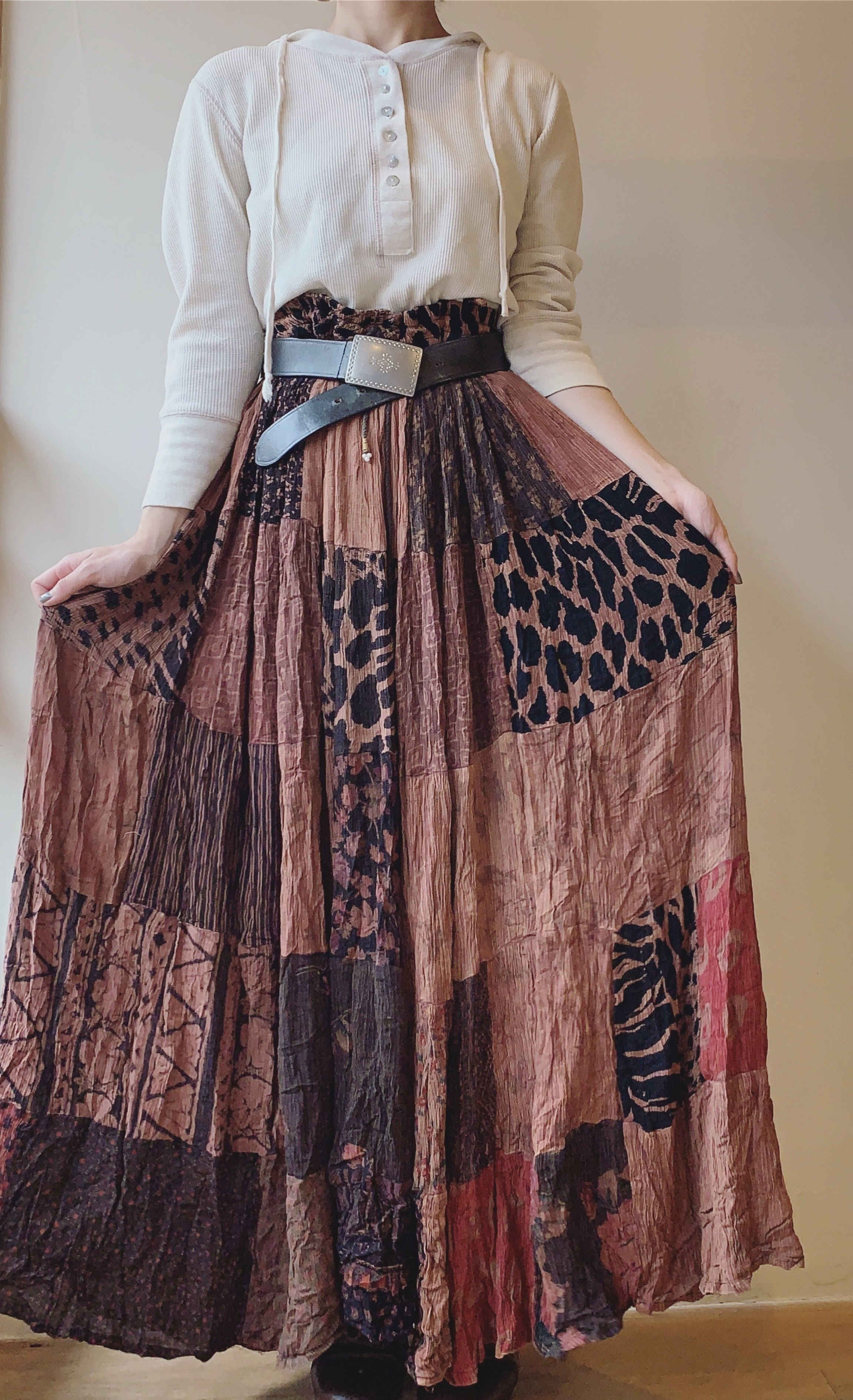 vintage leopard mix patchwork skirt