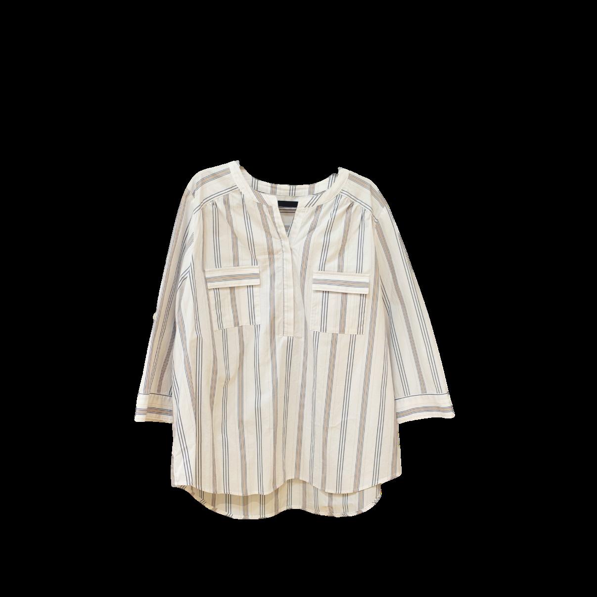 21036  ストライプ・スキッパーシャツ/ホワイト
