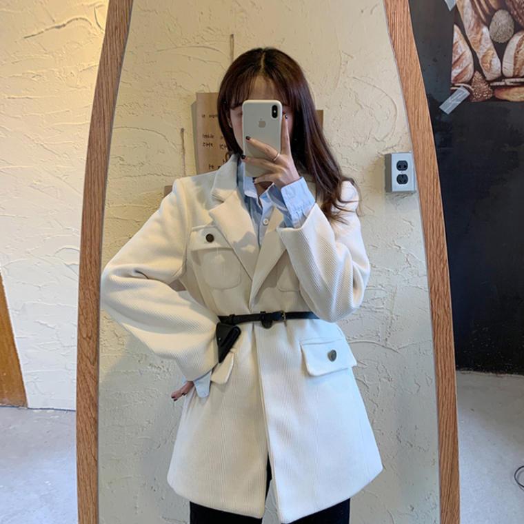 【送料無料 】おしゃれ上級者 ♡ きれいめ カジュアル コーデュロイ ベルト付き テーラード ジャケット コート アウター