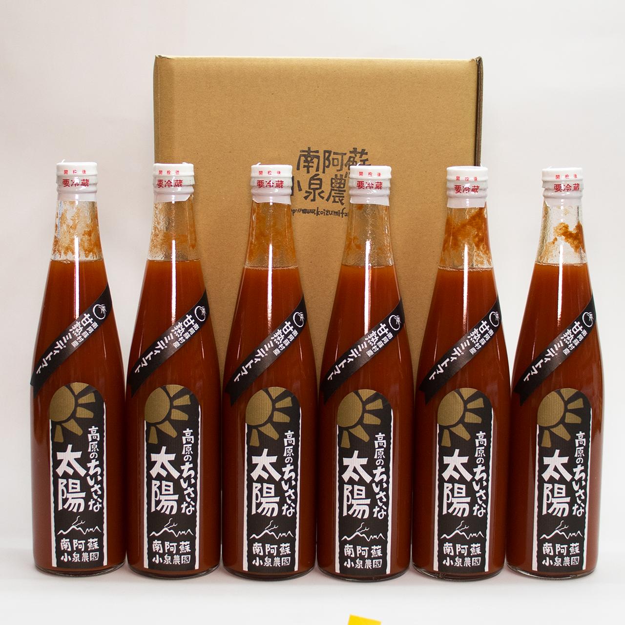 無塩無添加・甘熟ミディトマト100%ジュース -自宅用- 500ml 6本セット(レッド×6)