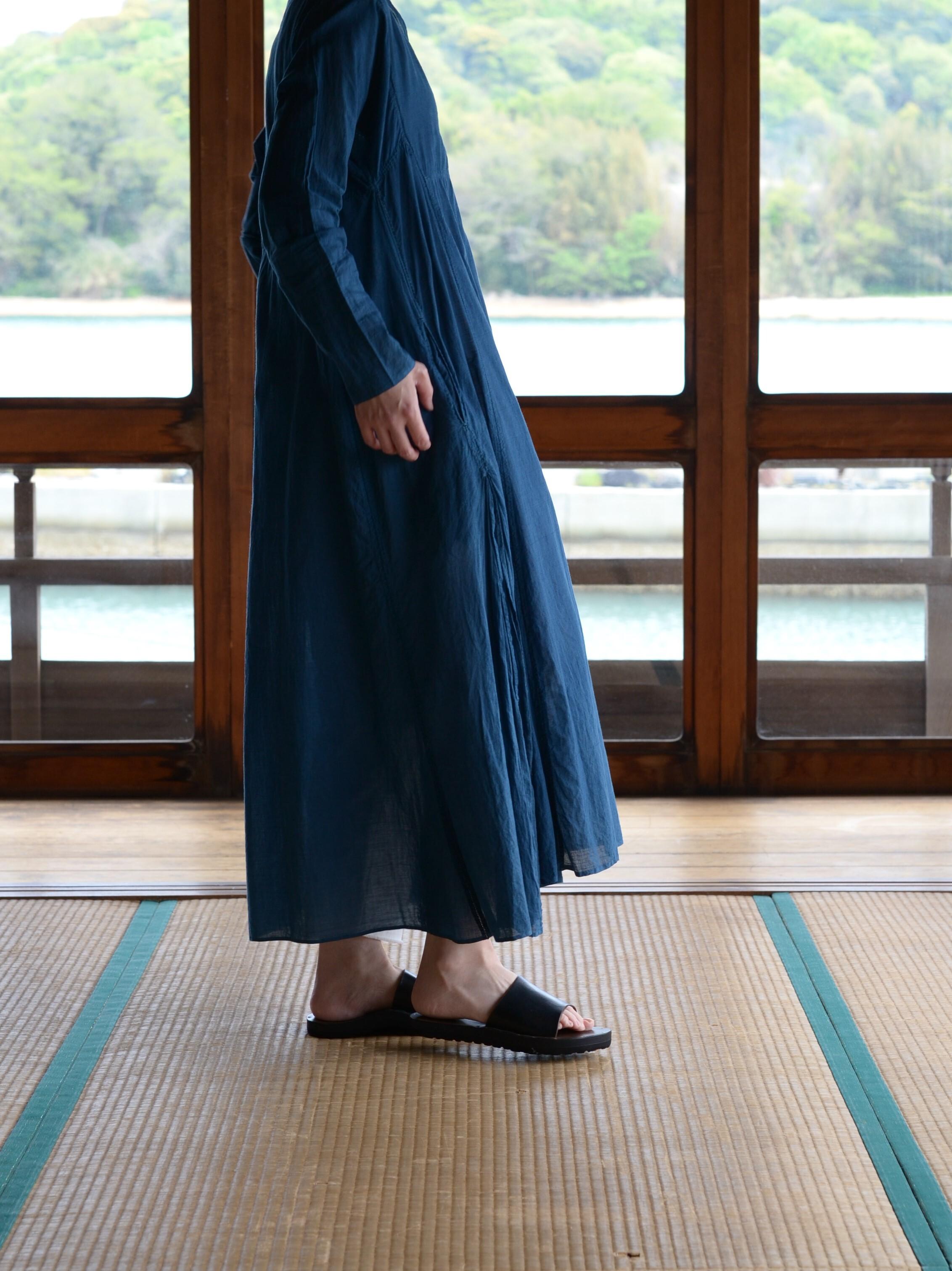 YAECA khadi ラダーステッチドレス indigo琉球藍