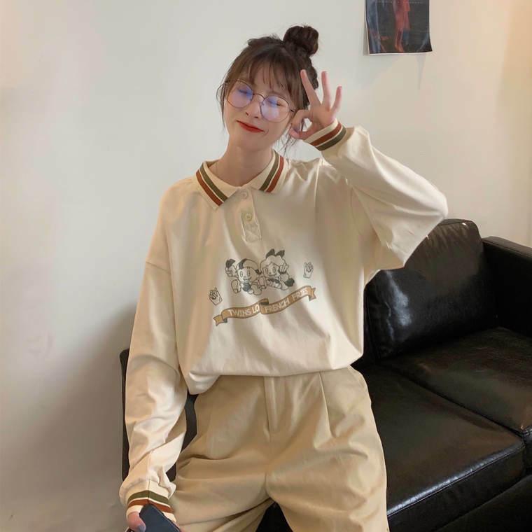 【送料無料】 プリントデザインがかわいい♡ 襟付き ポロシャツ 長袖 カットソー トップス オーバーサイズ