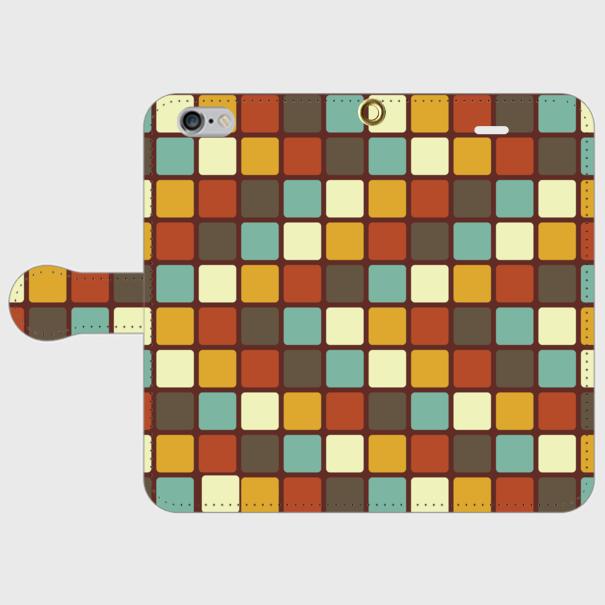 モザイクタイル(カラー)/ iPhoneスマホケース(手帳型ケース)