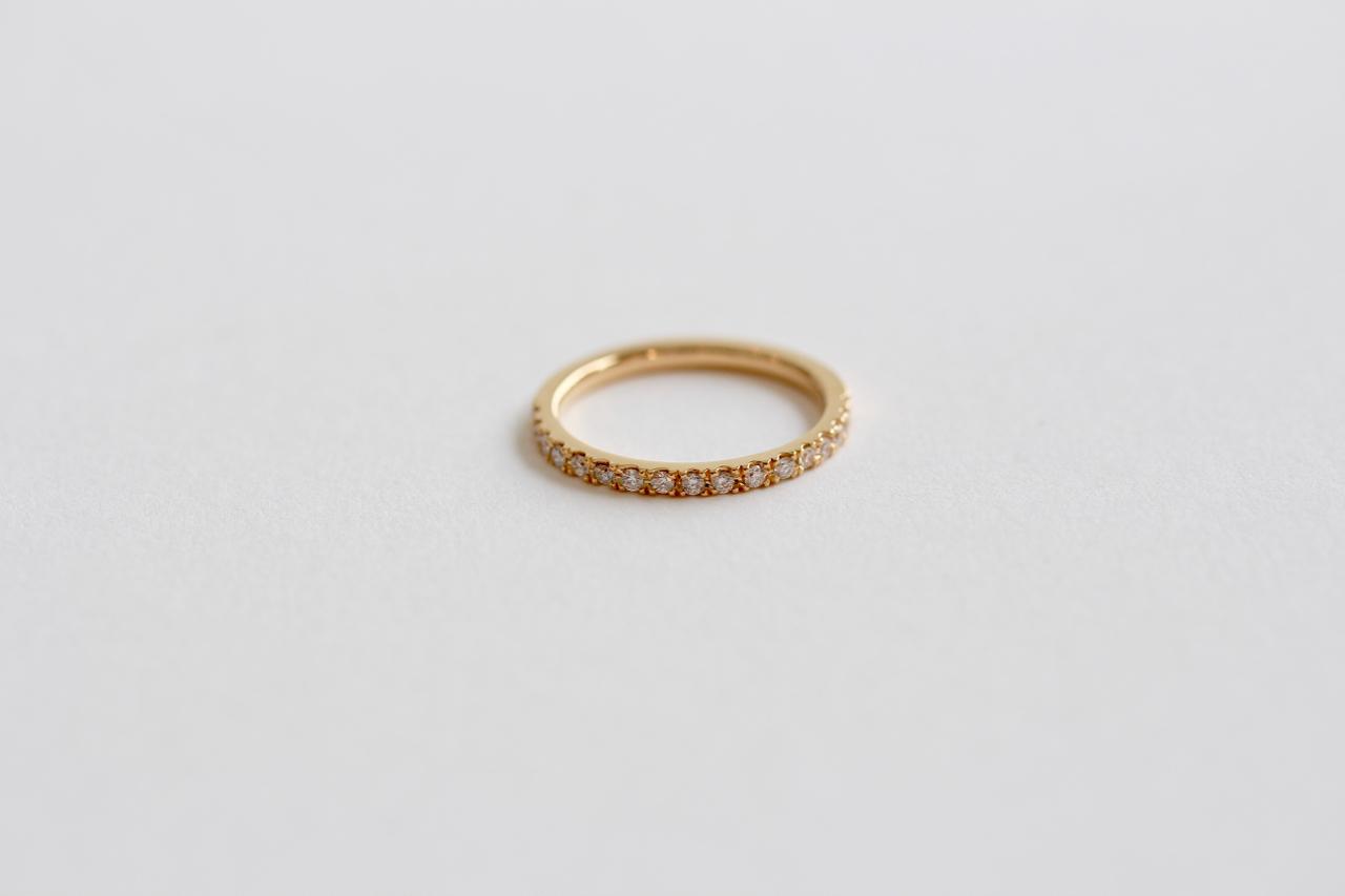 <婚約指輪に>ハーフエタニティリング K18イエローゴールド ピンクゴールド