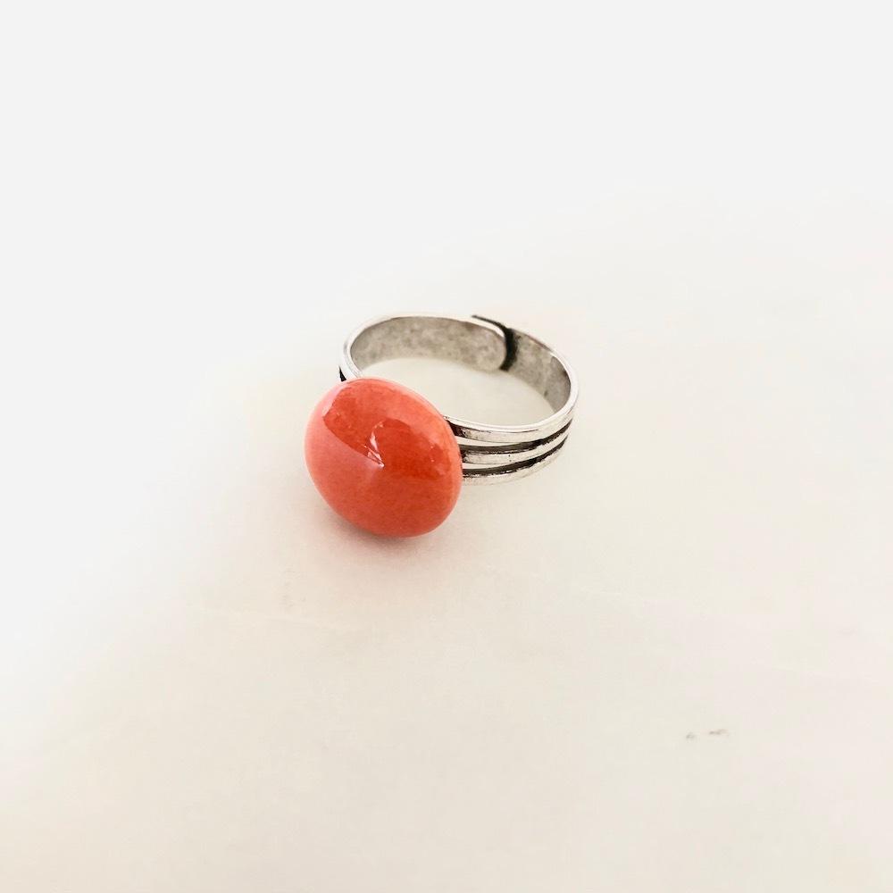Gevole シンプルな一粒陶器の可愛いリング オレンジ