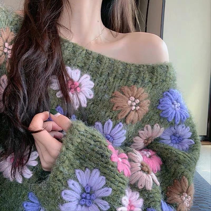 【1点のみ即納】flower switching loose knit