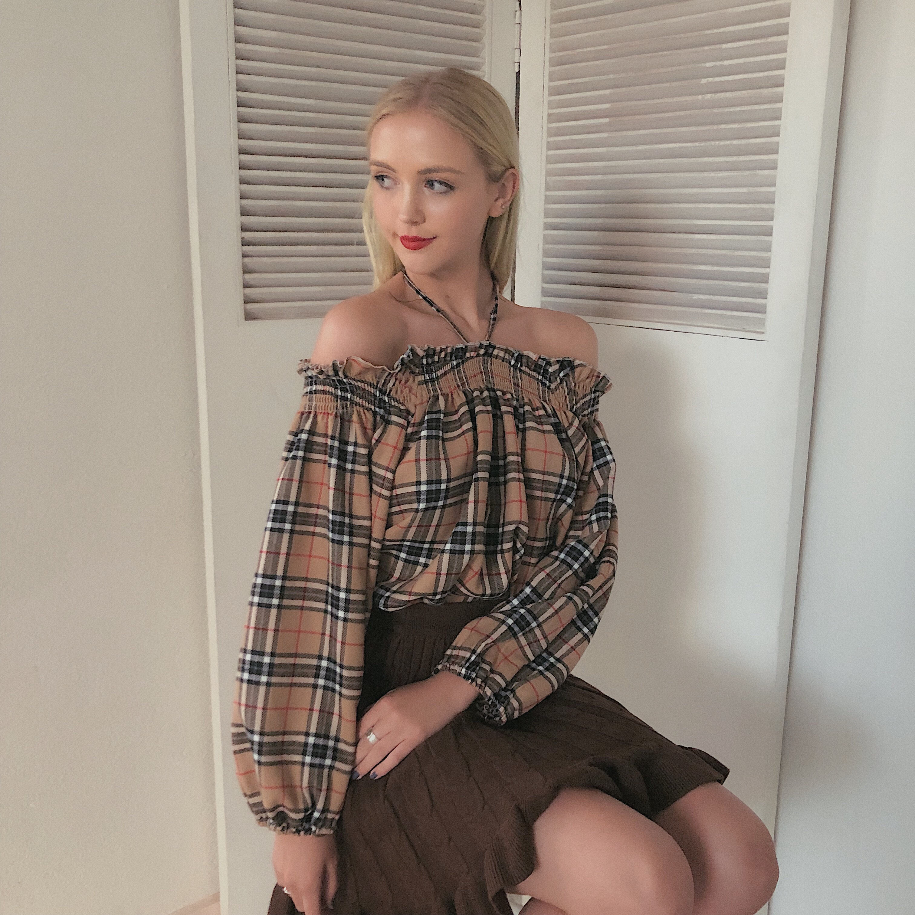 london check blouse