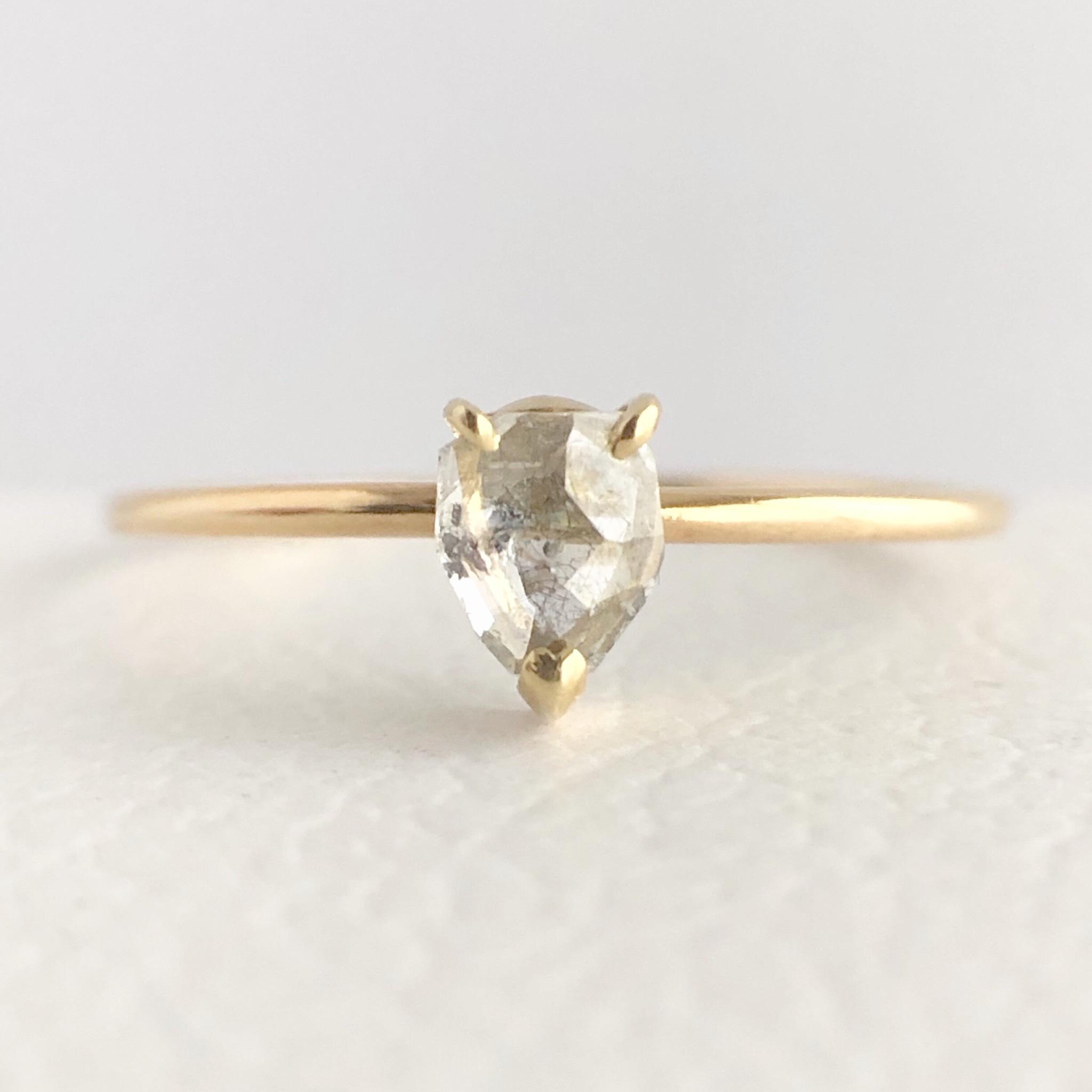 ナチュラルダイヤモンド リング 0.275ct チェカ K18イエローゴールド