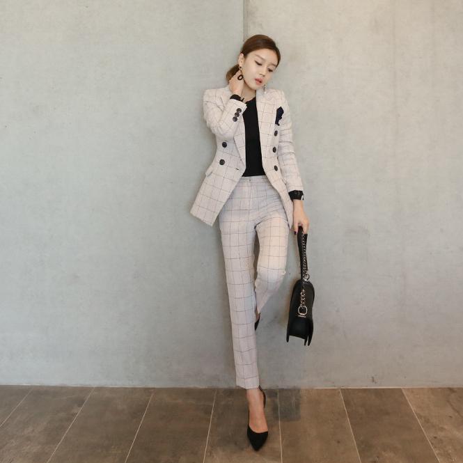テーラードジャケットとパンツスーツ◇★グレーホワイトチェック