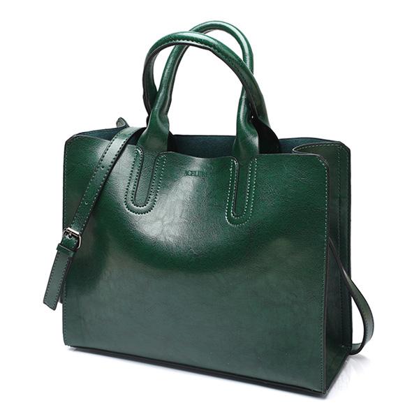 PUレザーハンドバッグ トランクトート ショルダーバッグ ラージボルソス green