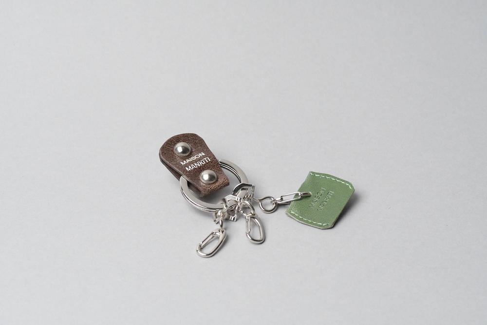 KEY RING・CAP ■ダークブラウンS・アイビーグリーン■_本革真鍮キーリング・キーキャップセット_ - 画像1
