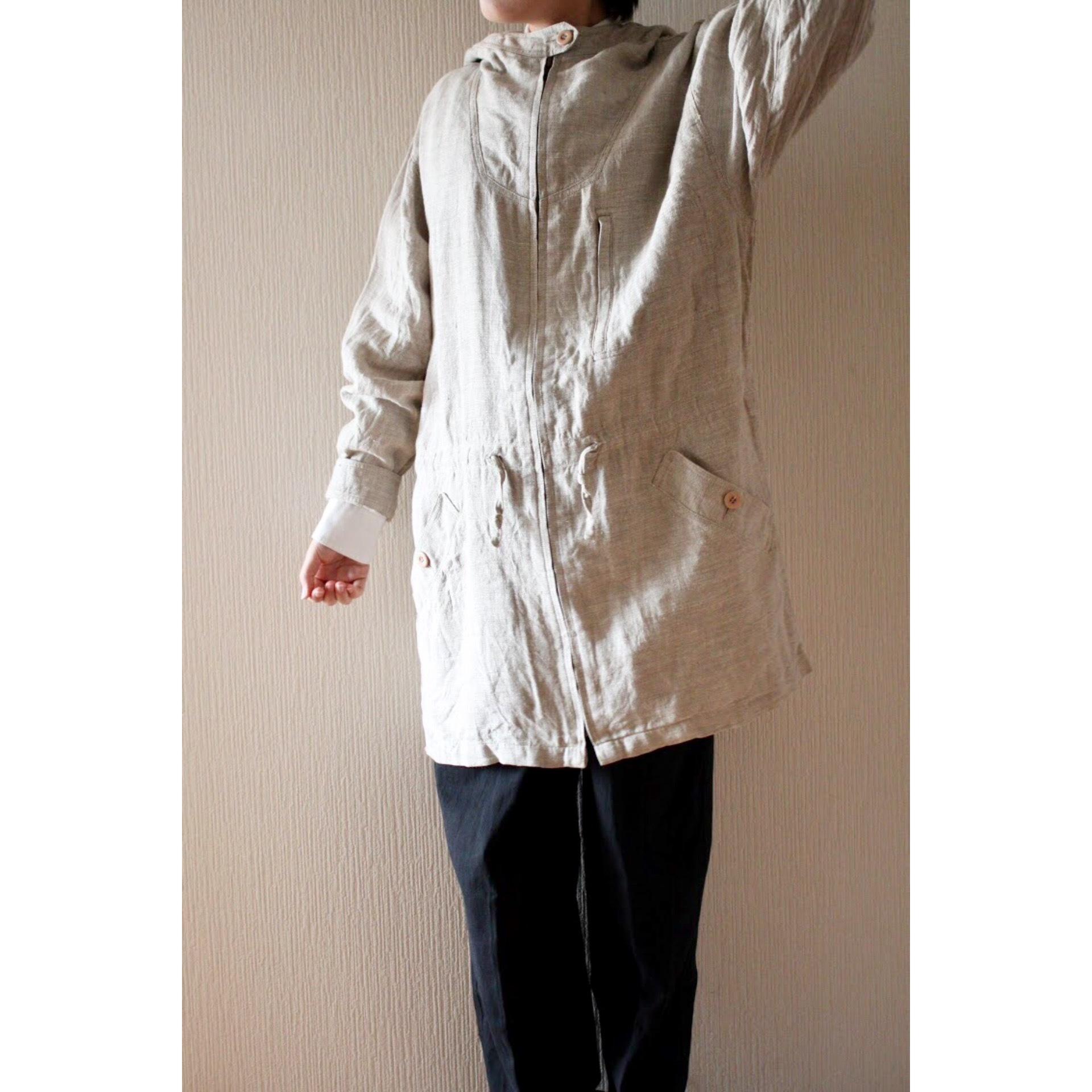 Vintage linen hooded coat
