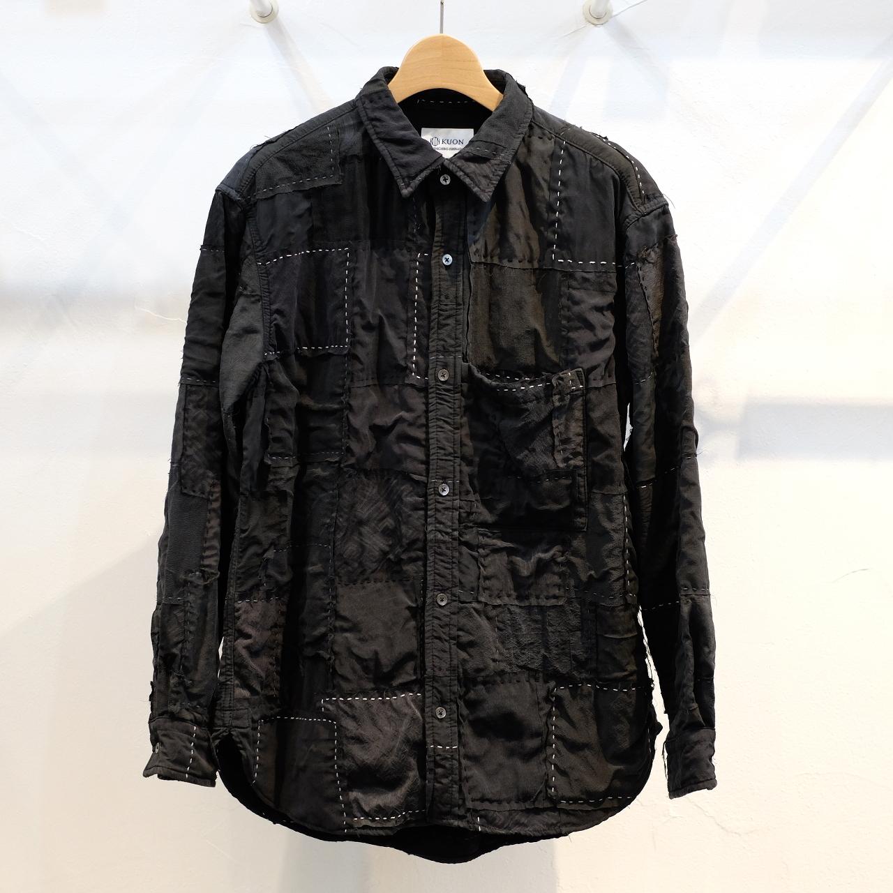 KUON(クオン) 着物襤褸(古布)パッチワーク・黒反応染めアップサイクルシャツ(シャツジャケット) CIRCLE特注