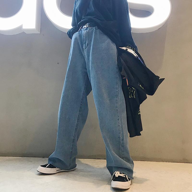 【bottoms】ファッションカジュアル無地デニムパンツ21904446