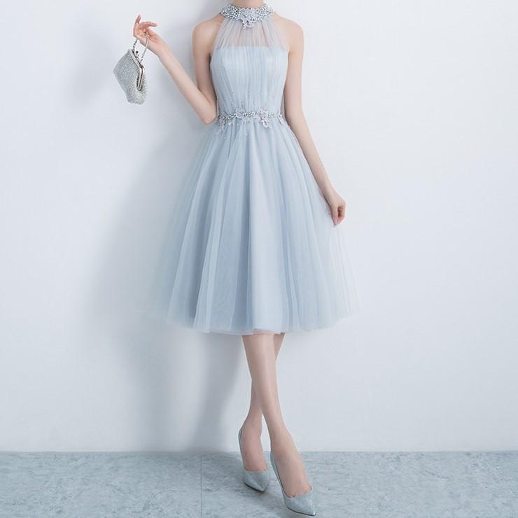 即納>ブルーグレー アメリカンスリーブ ビジュー 編み上げ ひざ丈ドレス 結婚式 お呼ばれ 卒業式 発表会