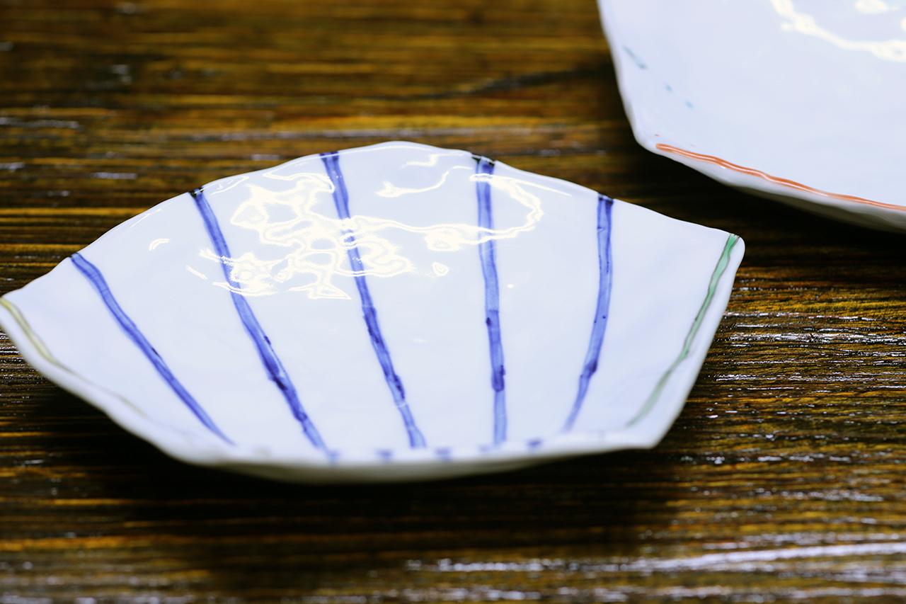 松尾貞一郎 扇型皿 170331K-7 貞土窯(有田焼)