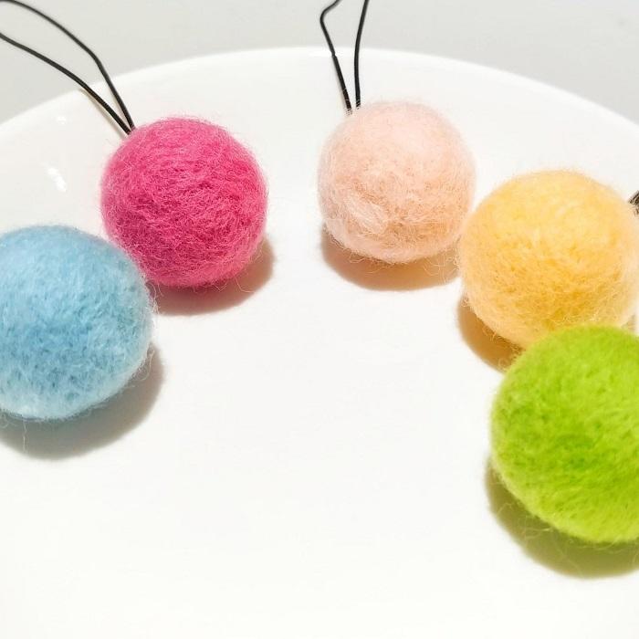 【まんまるクリスマスオーナメント】 5色セット / パステルカラー